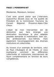 démarche de territoires adaptés dans la Région PACA - Atout France