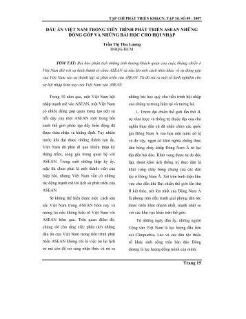 Trang 15 DẤU ẤN VIỆT NAM TRONG TIẾN TRÌNH PHÁT TRIỂN ...