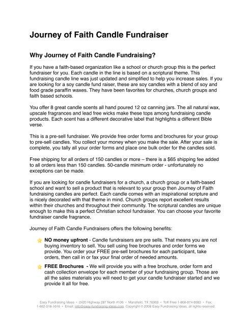 Journey of Faith Candle Fundraiser - Easy Fundraising Ideas