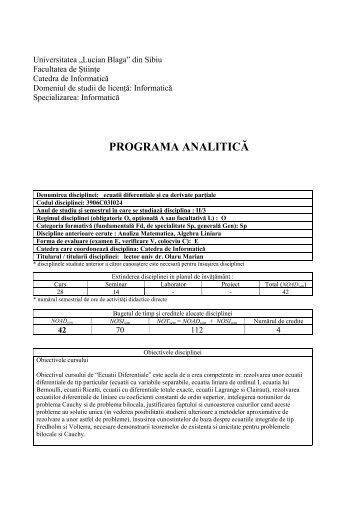 Ecuaţii diferenţiale şi cu derivate parţiale - Facultatea de Ştiinţe ...