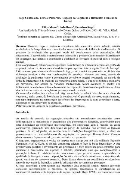FOGO CONTROLADO, CORTE E PASTOREIO - ESAC