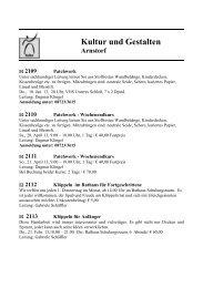 zum Programm Kultur und Gestalten - Markt Arnstorf