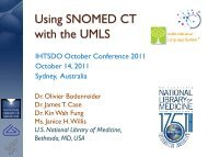 Using SNOMED CT with the UMLS - Medical Ontology Research