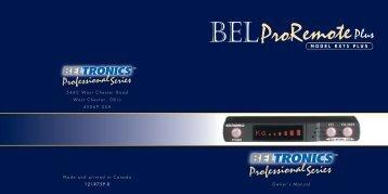RX75 PLUS Owner's Manual - Beltronics