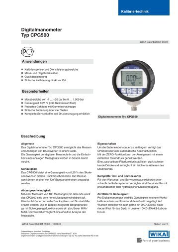 Digitalmanometer Typ CPG500