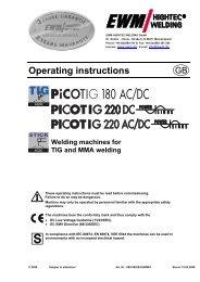 picotig 180 ac/dc; picotig 220 dc - Walsh Engineering Supplies