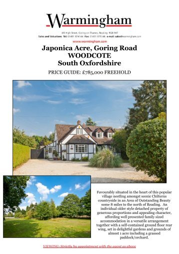 Japonica Acre, Goring Road WOODCOTE South ... - Warmingham
