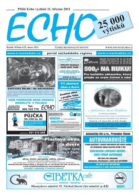 Pt Echo vychz 20. nora 2015 Chinaski hledaj