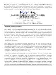 Continuing Connected Transactions - Haier