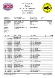 STARTLISTE Slalom SCO-CUP 2006/2007 9.SCO/ KKipp