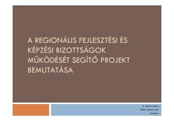 a regionális fejlesztési és képzési bizottságok működését segítő ...