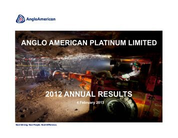 2012 ANNUAL RESULTS - Anglo American Platinum