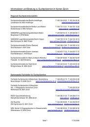 Informationen und Beratung zu Suchtprävention im Kanton Zürich