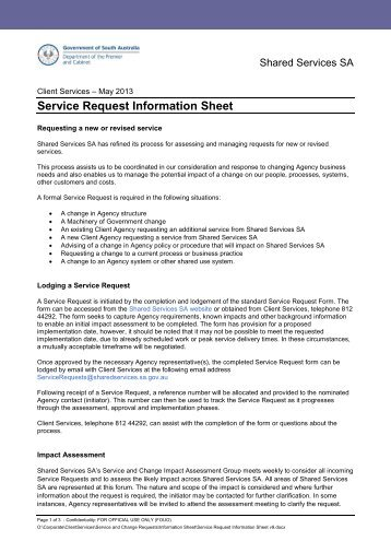 Service Request information Sheet - Shared Services SA - SA.Gov.au