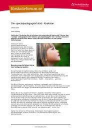 Om specialpedagogiskt stöd i förskolan