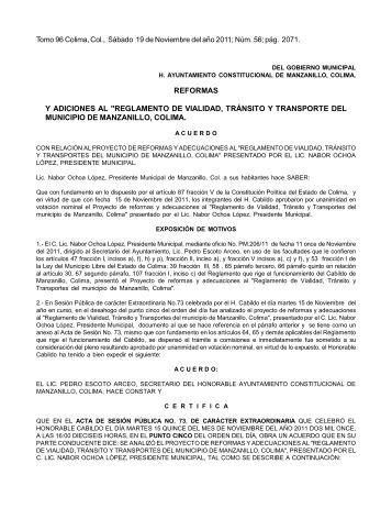 """REFORMAS Y ADICIONES AL """"REGLAMENTO DE VIALIDAD ..."""