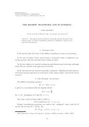 THE HILBERT TRANSFORM AND SCATTERING 1 ... - INMABB