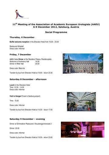 6-9 December 2012, Salzburg, Austria Social Programme