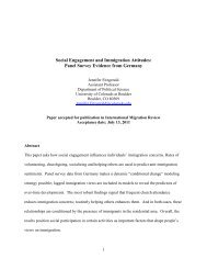Social Engagement and Immigration Attitudes: Panel Survey ...