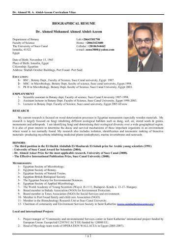 BIOGRAPHICAL RESUME Dr. Ahmed Mohamed Ahmed ... - VISB