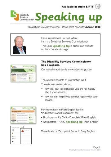 'Newsletter Speaking Up Plain English, Autumn 2013' ( PDF 451 KB )