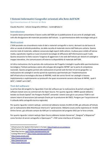I Sistemi Informativi Geografici orientati alla Rete dell'IGM