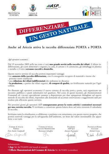 Lettera alle utenze commerciali.pdf - Comune di Ariccia