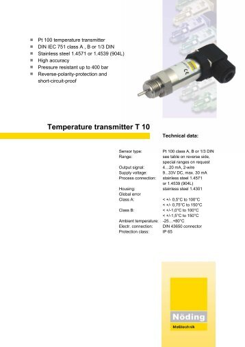 Page 1 Pt 100 temperature transmitter DIN IEC 751 class A , B or 1/3 ...