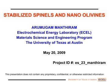 STABILIZED SPINELS AND NANO OLIVINES - BATT