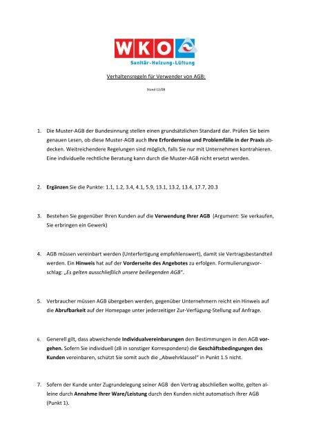Verhaltensregeln Fã¼r Verwender Von Agb 1 Die Muster Shkat