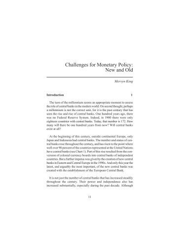 Challenges for Monetary Policy - Federal Reserve Bank of Kansas City