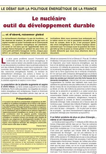 Le nucléaire outil du développement durable - SFEN