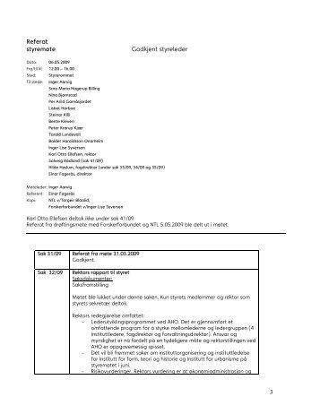 Referat - Arkitektur- og designhøgskolen i Oslo