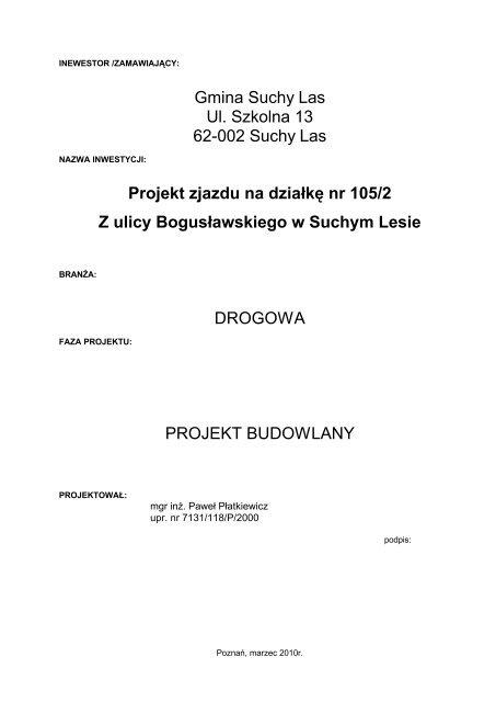 Gmina Suchy Las Ul. Szkolna 13 62-002 Suchy Las Projekt zjazdu ...