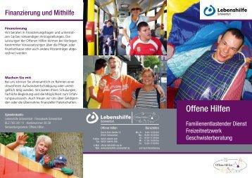 Lebenshilfe Schweinfurt: Infoflyer der Offenen Hilfen