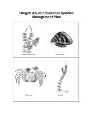 Oregon Aquatic Nuisance Species Management Plan - USDA Forest ...