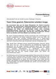 Pressemitteilung Team China gewinnt, Österreicher ... - Loctite