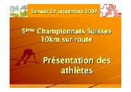 5ème Championnats Suisses 10km sur route-Présentation des ...