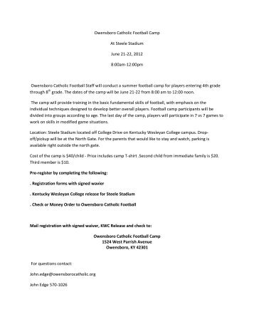 Owensboro Catholic Football Camp At Steele Stadium June 21-22 ...