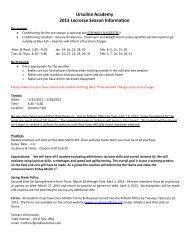 pre-season information - Ursuline Academy
