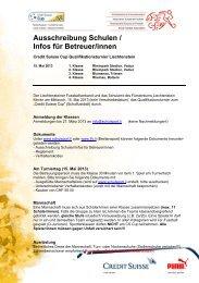 Ausschreibung Schulen / Infos für Betreuer/innen - Liechtensteiner ...