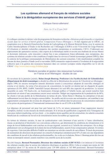 Les systèmes allemand et français de relations sociales face à la ...
