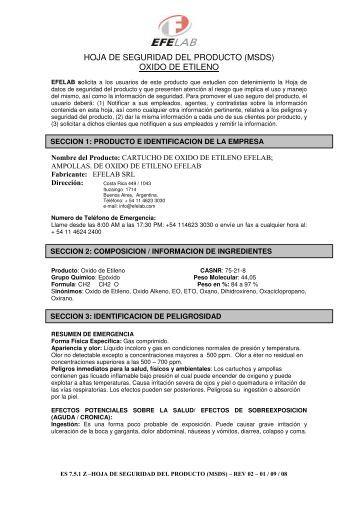HOJA DE SEGURIDAD DEL PRODUCTO (MSDS) OXIDO DE - Efelab