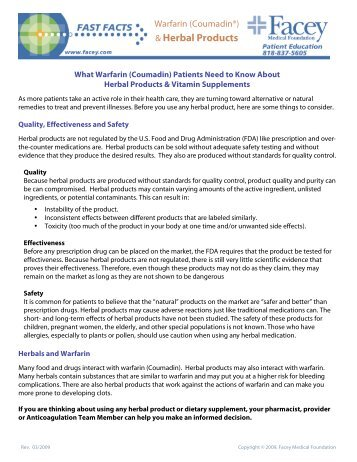 Warfarin & Herbal Products.pdf - Facey Medical Group