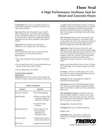 Floor Seal - Canadian Data Sheet (English) - Tremco Roofing