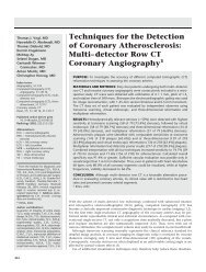 Techniques for the Detection of Coronary Atherosclerosis - Radiology