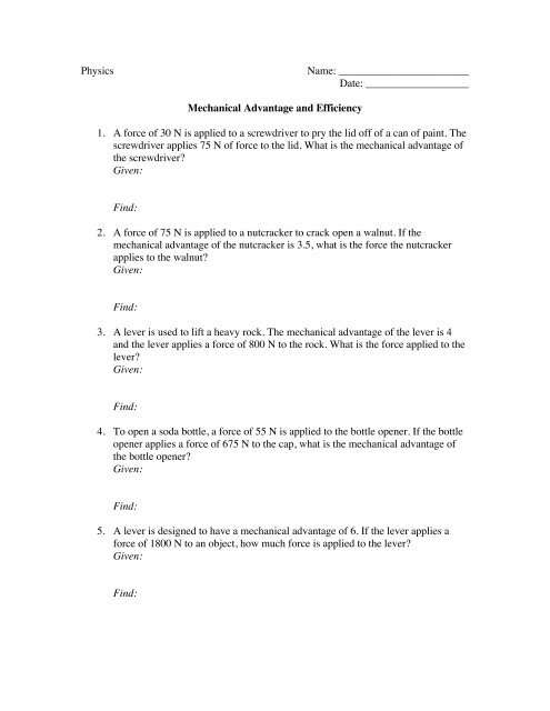MA and Efficiency worksheet - MurrayPhysics