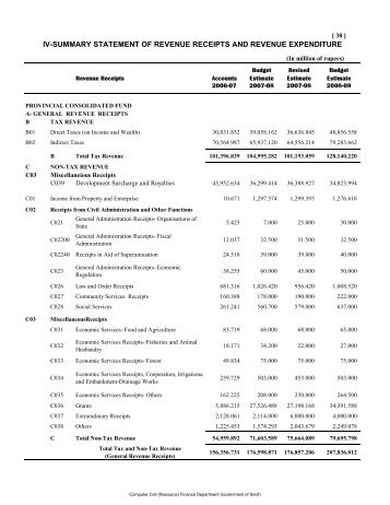 Expenditures and Revenues Matrix and Summary