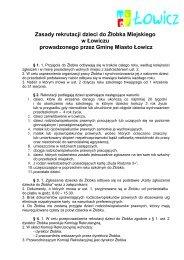 Karta zgłoszenia dziecka do Żłobka Miejskiego - Łowicz
