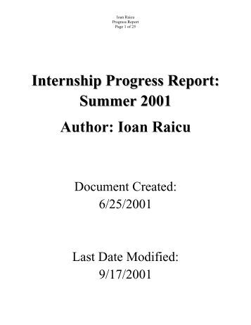 internship progress report 1 A progress report to the legislature california commission on teacher  credentialing 1 pre-internship teaching program executive summary.